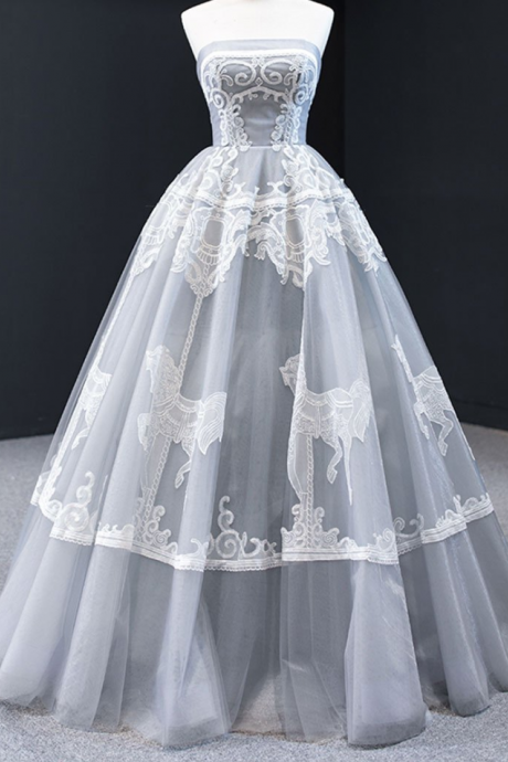 Sweetheart tulle lace long prom dress tulle formal dress