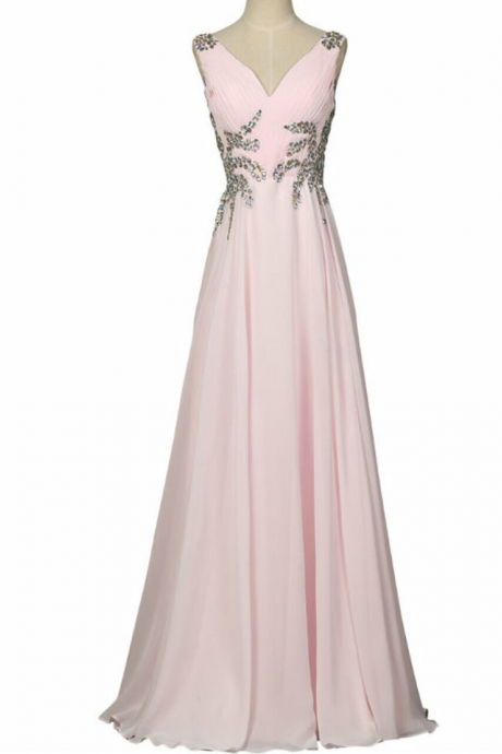Prom Dresses Long Design Sexy V Neck Sleeveless Evening Prom Gown