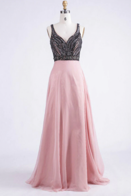 New Arrival Sweetheart Spaghetti A-line Open Back Chiffon Beading Prom Party Dress