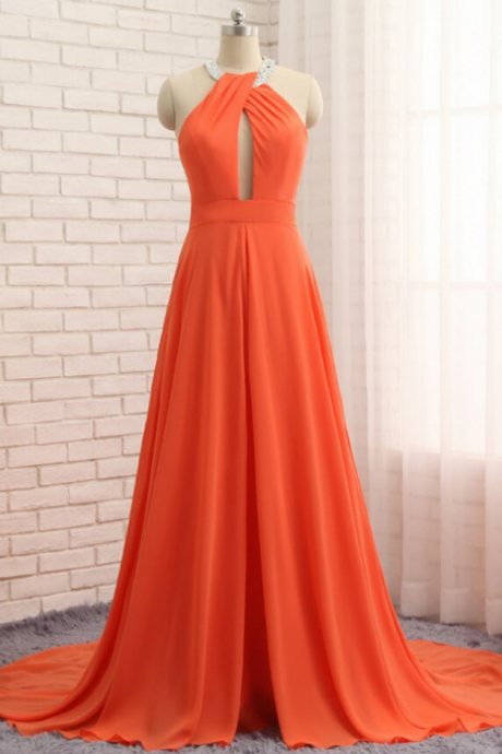A-Line Chiffon Halter Cut Out Backless Prom Dress