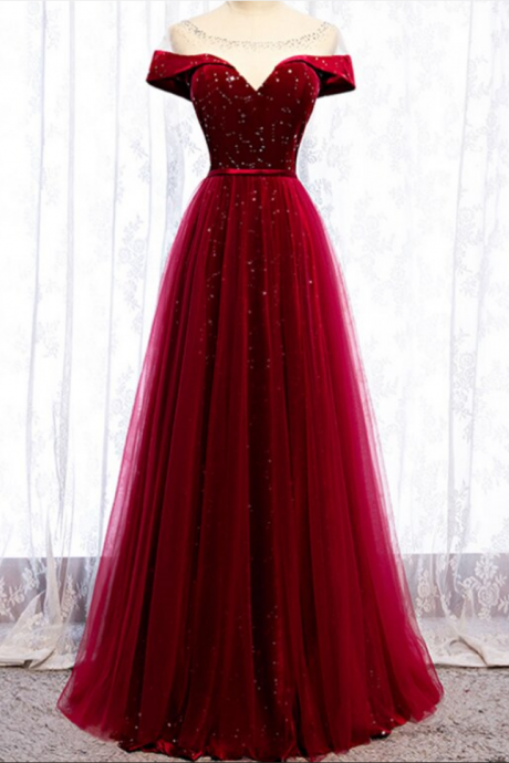 Burgundy Tulle Star Sequins Cap Sleeve Prom Dress