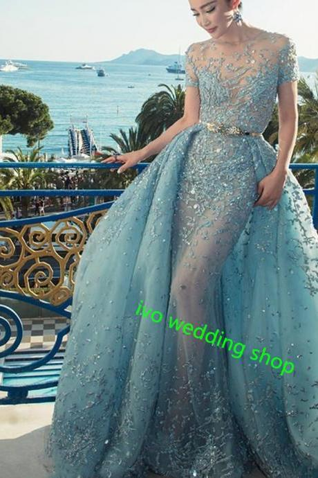 Luxury Formal Evening Dresses Sheath Short Sleeve Sheer O-Neck Appliques Sequined Long Celebrity Dresses Party Dresses With Train