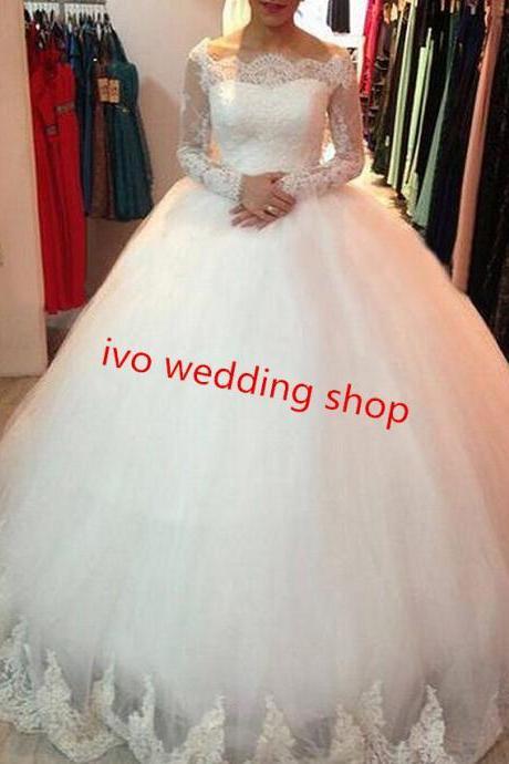 Ball Gown Wedding Dresses 2016 Custom Made Robe De Soiree Lace Tulle Wedding Dress With Long Sleeves,Bridal Gowns