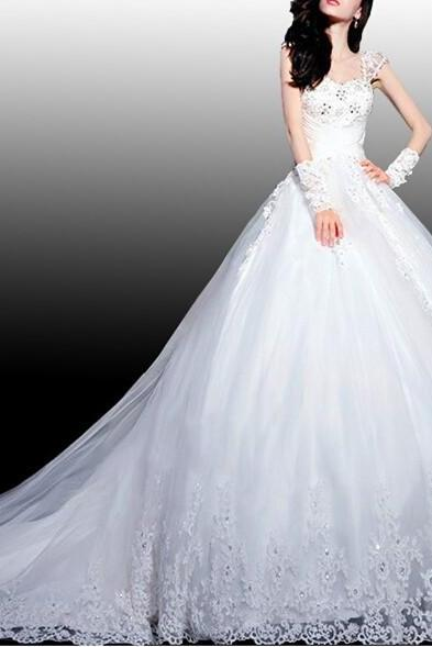 A-Line White Organza Wedding Dress Cap Sleeve Lace Bridal Gown Ivory Wedding Dresses US Size 0 2 4 6 8 10 12 14
