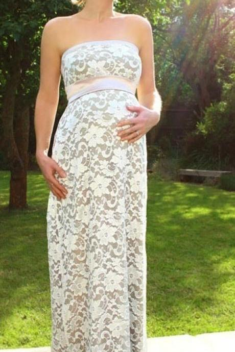 Lace Prom Dresses,Strapless Evening Dress,Pregnant Prom Dress,Pregnant Wedding Dresses,Ivory Prom Gown,Pregnant Prom Dress,Simple Evening Gowns For Teens