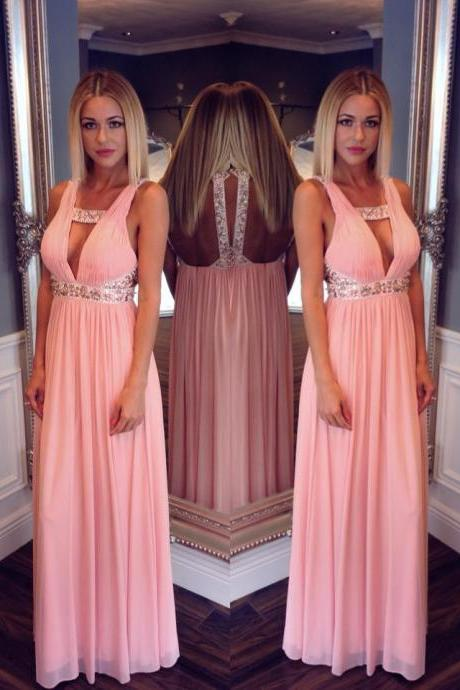 2016 Prom Dresses,Backless Evening Gowns,Sexy Formal Dresses,Open Back Prom Dresses,2016 Fashion Evening Gown,Open Backs Evening Dress,Beaded Party Dress,Pink Prom Gowns