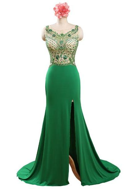 Green Prom Dresses,Beaded Evening Dress,Backless Prom Dresses,Beading Prom Dresses,2016 Prom Gown,Slit Prom Dress,Princess Formal Gowns For Teens