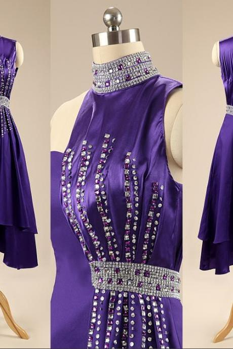 Custom Made Purple Fashion Cocktail Dresses High Neck Crystals Beaded Prom Dresses Party Gowns Formal Dresses