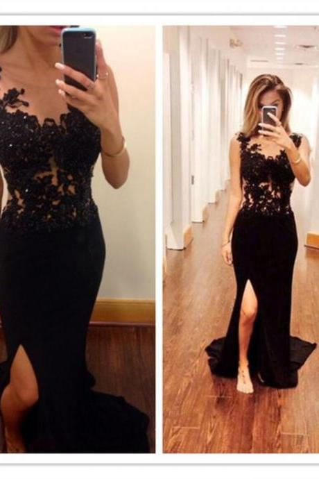 Mermaid Prom Dresses,Black Lace Prom Dress,Slit Prom Dress,Modest Evening Gowns,Cheap Party Dresses,Graduation Gowns