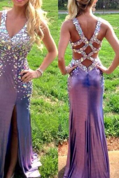 Backless Prom Dresses,Grape Prom Dress,Open Back Prom Gown,Open Backs Prom Dresses,Straps Evening Gowns,Beaded Bodice Formal Gown,Crystals Evening Gowns,Grape Formal Gown For Teens Girls