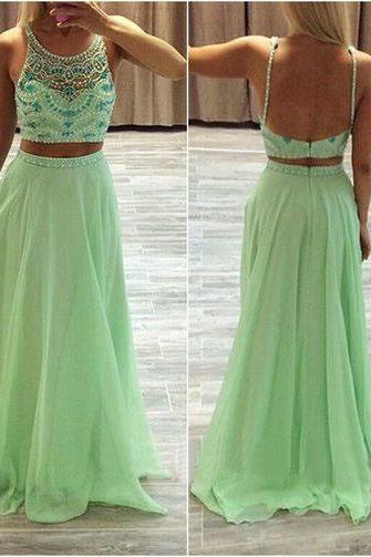 2 Piece Prom Gown,Two Piece Prom Dresses,Sage Evening Gowns,2 Pieces Party Dresses,Chiffon Evening Gowns,Backless Formal Dress,Sparkly Evening Gowns For Teens