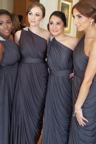 One Shoulder Bridesmaid Gown,Pretty Prom Dresses,Gray Prom Gown,Simple Bridesmaid Dress,Grey Bridesmaid Dress,Cheap Evening Dresses,Fall Wedding Gowns,2016 Beautiful Bridesmaid Gowns