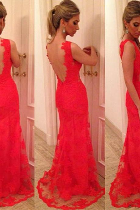 Backless Prom Dresses,Red Prom Dress,Backless Prom Gown,Open Back Prom Dresses,Open Backs Evening Gowns,Lace Formal Gown,Sexy Evening Gowns For Teens Girls