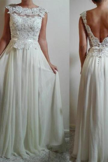 White Wedding Dresses,Long Wedding Gown,Lace Wedding Gowns,Chiffon Bridal Dress,Wedding Dress With Cap Sleeves,White Brides Dress,Backless Wedding Gowns