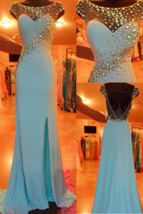 Blue Prom Dresses, Evening Dresses,Slit Prom Gowns,Elegant Prom Dress,BacklessProm Dresses,Chiffon Evening Gowns, Open Backs Formal Dress
