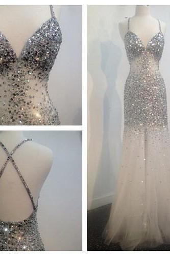 Backless Prom Dresses,Open Back Prom Dress,Ivory Prom Gown,Sparkly Prom Gowns,Elegant Evening Dress,Sparkle Evening Gowns,Mermaid Evening Gowns,Sexy Prom Dress, Party Dress For Teens