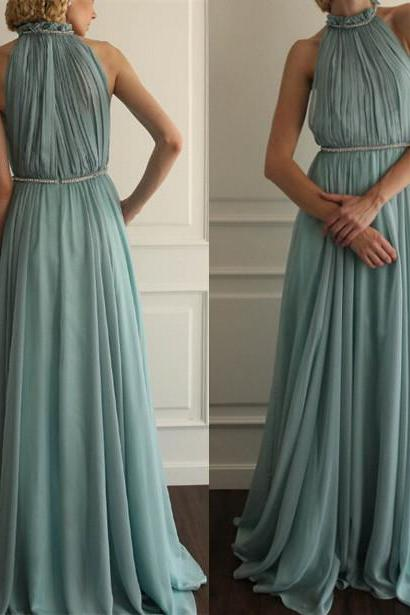 Ruffled Prom Dresses,High Neckline Prom Gowns,Modest Prom Dresses, Party Dresses,Long Prom Gown,Chiffon Prom Dress,Beautiful Evening Gowns