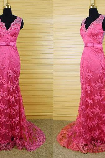 Hot Pink Prom Dresses,V Neckline Prom Dress,Sexy Prom Dress,Lace Prom Dresses, Formal Gown,Lace Evening Gowns,Backless Party Dress,Open Back Prom Gown For Teens