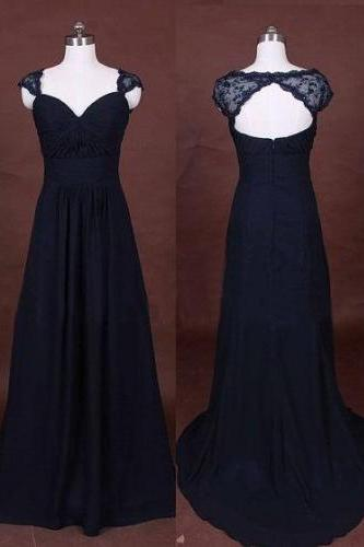 A Line Lace Bridesmaid Dress,Long Bridesmaid Gown,Navy Blue Bridesmaid Gowns,Simple Bridesmaid Dresses,Chiffon Bridesmaid Gowns,Vintage Brides Dress,Dark Navy Bridesmaid Gowns