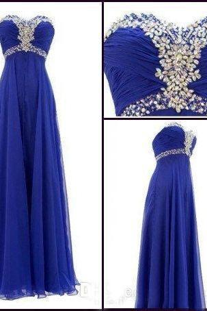 Royal Blue Prom Dresses,Royal Blue Prom Dress,Silver Beaded Formal Gown,Beadings Prom Dresses,Sweetheart Evening Gowns,Chiffon Formal Gown For Senior Teens