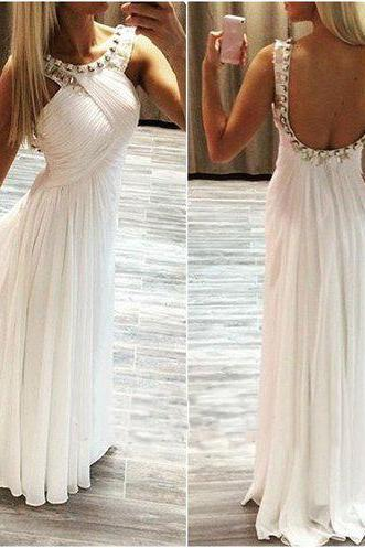Backless Prom Dresses,White Prom Dress,Backless Prom Gown,Open Back Prom Dresses,Open Backs Evening Gowns, Evening Gown,Chiffon Party DressFor Teens Girls