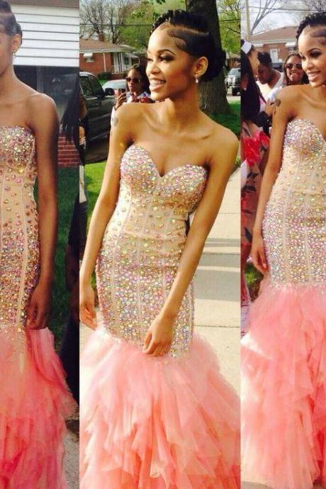 Pink Prom Dresses,Tulle Prom Dress,Sexy Prom Dress,Mermaid Prom Dresses, Formal Gown,Tulle Evening Gowns,Corset Party Dress,Fitted Prom Gown For Senior Teens