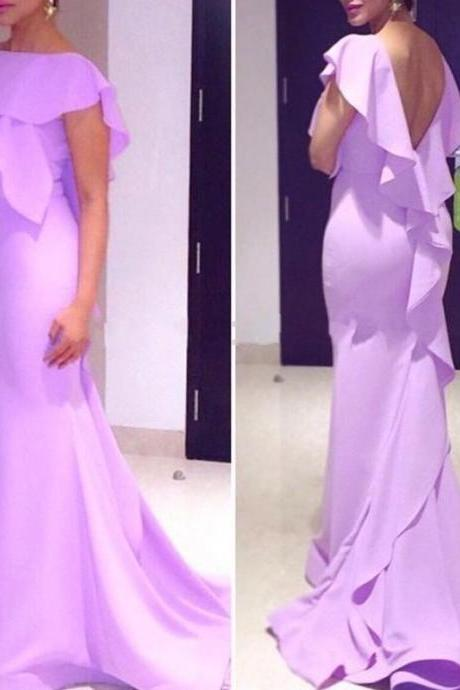 Lavender Prom Dresses,Simple Prom Dress,Sexy Prom Dress,Backless Prom Dresses, Formal Gown,Chiffon Evening Gowns,Mermaid Party Dress,Prom Gown For Teens