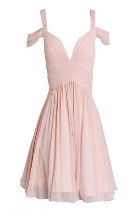 Short Homecoming Dress,Chiffon Light Pink Homecoming Dress,Simple Homecoming Dress,Cheap Homecoming Dress, Off shoulder Bridesmaid dress , Homecoming Dresses,Cocktail Dresses,Graduation Dress
