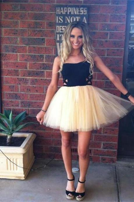 Short Homecoming Dress,Black Homecoming Dress,Tulle Homecoming Dress,Strapless Homecoming Dress,Junior Homecoming Dress,Prom Dresses
