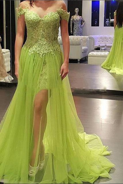 Pretty Prom Dress,Sage Prom Dress,Off Shoulder Prom Dress,Long Prom Dresses,Lace Prom Dresses,Handmade Prom Gowns,A-line Patyu Gowns,Homecoming Dresses