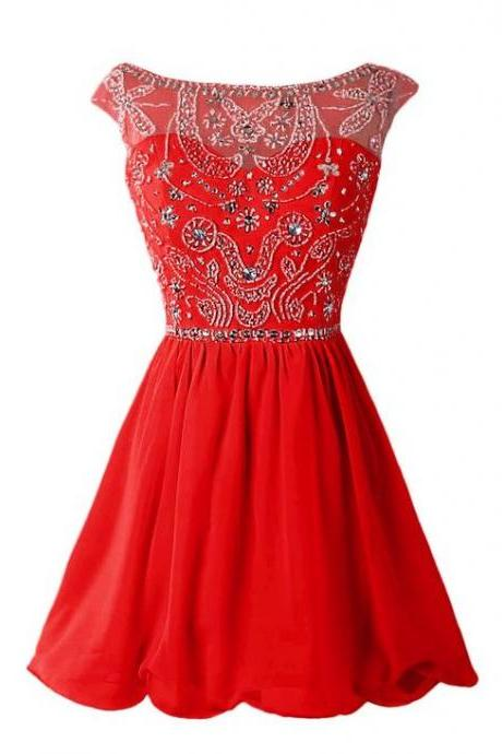 Homecoming Dresses, Red Beaded homecoming dress, See Through homecoming dress, short homecoming dresses, 2016 homecoming dress, short prom dresses, homecoming dresses