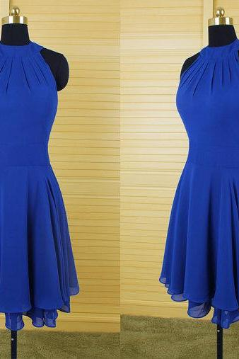 Homecoming Dresses, Halter Royal Blue homecoming dress, Chiffon homecoming dress, short homecoming dresses, 2016 homecoming dress, short prom dresses, homecoming dress