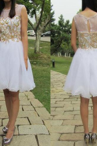 Homecoming Dresses, White See through homecoming dress, Gold beaded homecoming dress, short homecoming dresses, 2016 homecoming dress, short prom dresses, homecoming dress