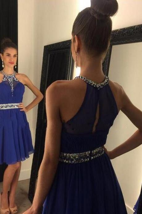 Homecoming Dresses, Royal Blue Halter homecoming dress, Sexy See through homecoming dress, short homecoming dresses, 2016 homecoming dress, short prom dresses, homecoming dresses