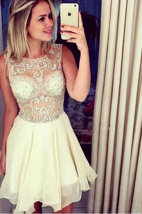Homecoming Dresses, Sexy See through homecoming dress, 2016 Champagne homecoming dress, short homecoming dresses, 2016 homecoming dress, short prom dresses, homecoming dress