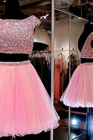 Homecoming Dresses,Junior Homecoming Dresses,2 pieces Rhinestone homecoming dress, Pink homecoming dress, short homecoming dresses, 2016 homecoming dress, short prom dresses
