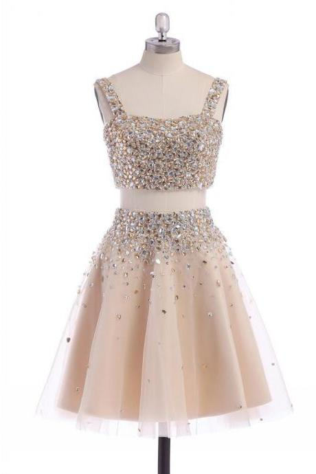 Homecoming Dresses,Junior Homecoming Dresses,2 pieces Rhinestone homecoming dress, Sexy homecoming dress, short homecoming dresses, 2016 homecoming dress, short prom dresses, homecoming dresses