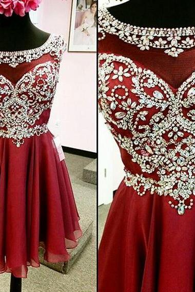 Homecoming Dresses,Junior Homecoming Dresses,Red beaded homecoming dress, 2016 See Through homecoming dress, short homecoming dresses, 2016 homecoming dress, short prom dresses, homecoming dress