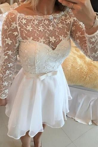 Homecoming Dresses,Junior Homecoming Dresses,Long sleeve Lace homecoming dress, See through homecoming dress, short homecoming dresses, 2016 homecoming dress, short prom dresses, homecoming dress