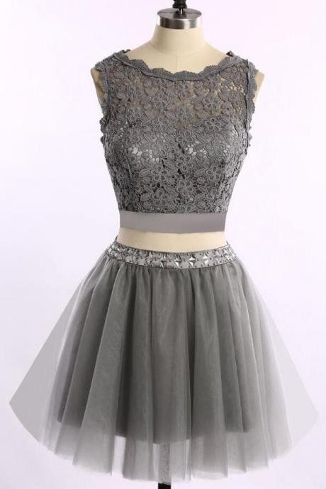 Homecoming Dresses, 2 pieces homecoming dress, Grey lace homecoming dress, short homecoming dresses, 2016 homecoming dress, short prom dresses, homecoming dress
