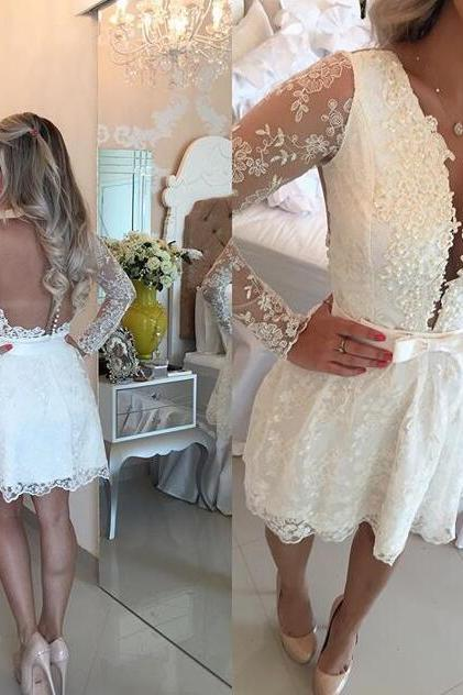 Homecoming Dresses,Junior Homecoming Dresses,Long sleeve homecoming dress, Sexy see through homecoming dress, short homecoming dresses, 2016 homecoming dress, short prom dresses, homecoming dress