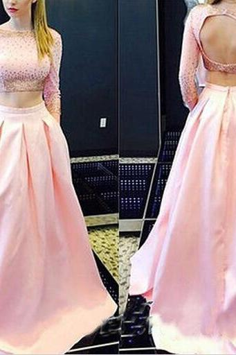 Charming Long Sleeves Prom Dresses,Pretty Pink Evening Dresses,Cute Beading Prom Gowns,Handmade Open Back Prom Gowns