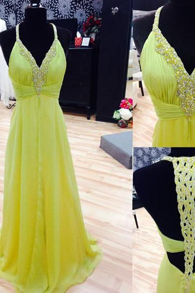 Beautful Chiffon Prom Gowns,Pretty Evening Gowns,Open Back Evenig Gowns,V-neck Prom Dresses