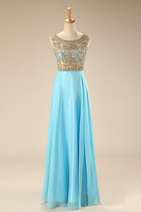 Chiffon Ice Blue Prom Gowns, Evening Gowns,Pretty Beading Prom Dresses With Flower Type,Sparkly Prom Dress