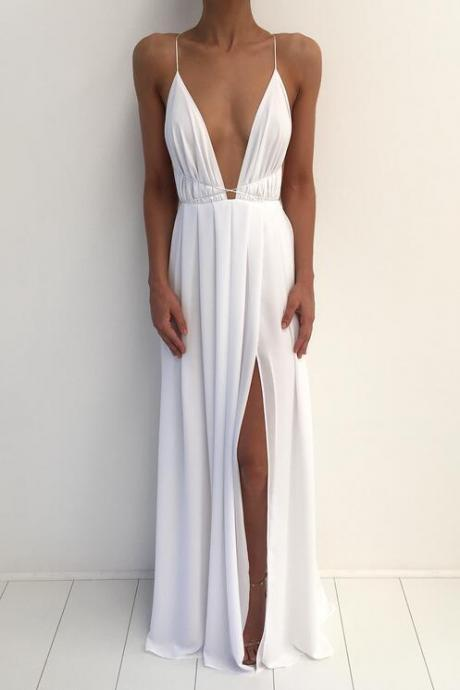 White Long Chiffon Prom Dresses,Handmade Prom Gowns,Simple Cheap Perty Gowns,Backless Evening Gowns