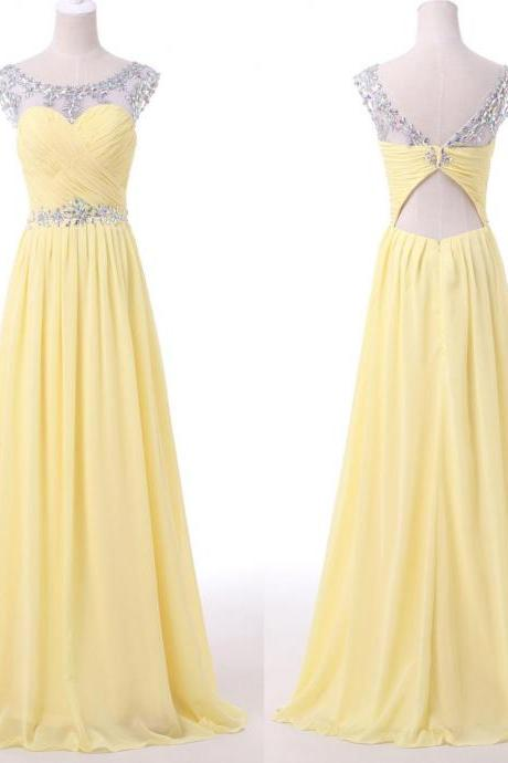 Daffodial Long Chiffon Prom Dresses,Elegant Pretty Prom Gowns,Party Gowns,CHarming Modest Evening Gowns