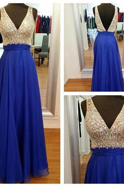 Classy V-neck Long Chiffon Prom Dresses,mHandmade Royal Blue Prom Gowns, Formal Party Gowns