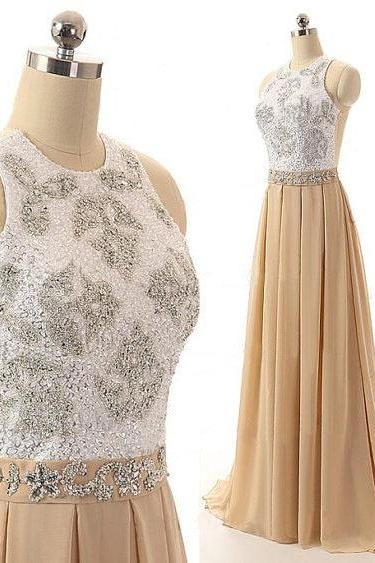 O-neckline Long CHiffon Classy Prom Dresses,Charming Chiffon Prom Gowns,2016 Evening Dresses,Party Gowns