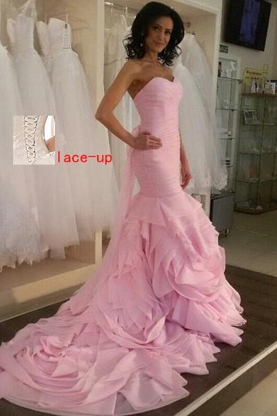 Pretty Lace Up Long Mermaid Prom Dresses,Prom Gowns,Evenign Gowns.Wedding Gowns