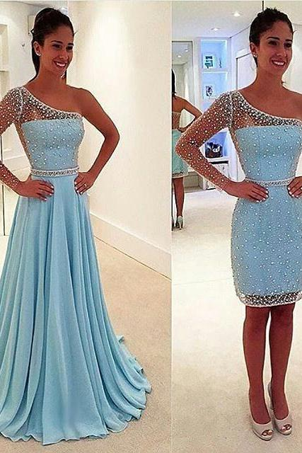 Light Sky Blue One Sleeves Beading Beautiful Prom Dresses,Gorgeous Prom Gowns,Handmade Prom Dresses For Teens